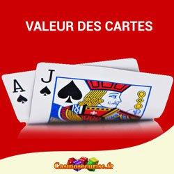 La valeur des carte de blackjack